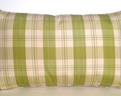 "26"" x 16"" Scalamandre Rectangle Pillow Green Chartreuse Beige Cream Plaid Taffeta Silk Lumbar Turandot Rose Tarlow Collection French Country"