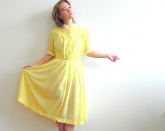 Duckling Yellow Lace Collar Vintage Midi Dress