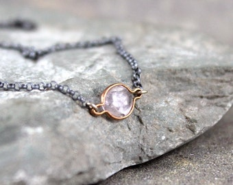 Blush Pink Sapphire Necklace - Rose Cut Freeform Sapphire - 14K Yellow Gold & Sterling Silver-September Birthstone-Mixed Metal-Light Pink