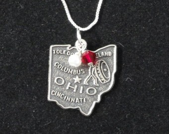 Ohio State Buckeyes Necklace- Ohio Sterling Silver State Map Charm- Red & White or Gray Beaded Pendant Sterling Necklace- Vintage Ohio Charm