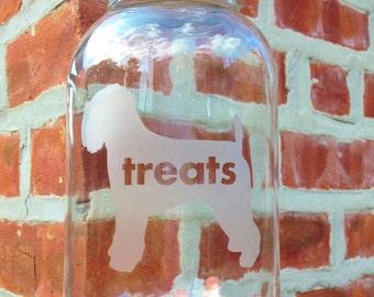 Dog Treats Jar - Choose Your Dog! Etched Glass, Etched Glassware