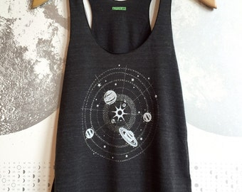 Womens Solar System tank top, space shirt, astronomy tshirt, science shirt, silver shimmer glow dark ink screen print, summer tank tops