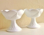 Pair White Curvy Milk Glass Candlesticks Candle Holders