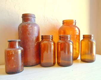 Instant Collection of 6 Vintage Amber Brown Glass Jars Rustic Vases
