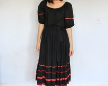 70's Black Scoop Neck Dress with Full Skirt and ribbon detailing/ Folk Dress/ Tiered Skirt