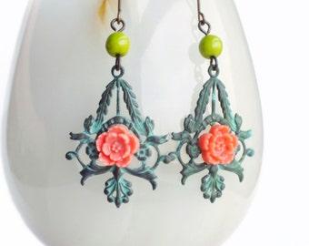 Floral Verdigris Earrings Pink Sakura Jewelry Green Patina Jewelry Filigree Dangles Mint Green Flower Jewelry Romantic Gift For Her
