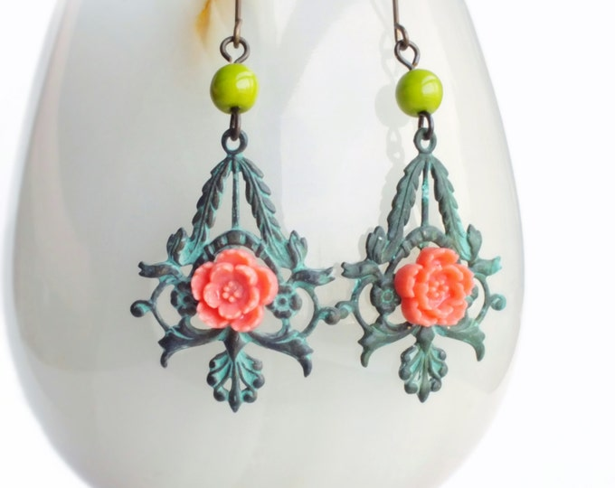 Floral Verdigris Earrings Pink Sakura Jewelry Green Patina Jewelry Filigree Dangles Mint Green Flower Jewelry Romantic Gift For Her