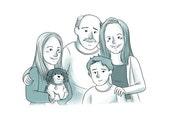 Custom Cartoon Family Portrait (Simple single color style) - Personalized art illustration family portrait. Cartoon family drawing.