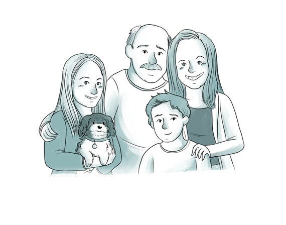 ... Personalized art illustration family portrait. Cartoon family drawing