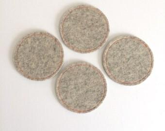 Wool Felt Coaster Set: Heather Flax Ground - Neon Orange Stitching