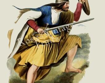 Clan Furguson - Scottish Highlander ~ Traditional Tartan and Arms ~ ca 1845 Giclee print
