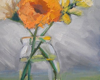 "Flower Still Life, Daily Painting, Small Oil Painting, ""Country Style"" 6x8"" Oil, orange, yellow"