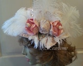 Hat Victorian Edwardian Style  Titanic Downton feathers roses sea shells