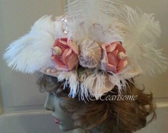 Hat Victorian Edwardian Style  Titanic Downton feathers roses sea shells