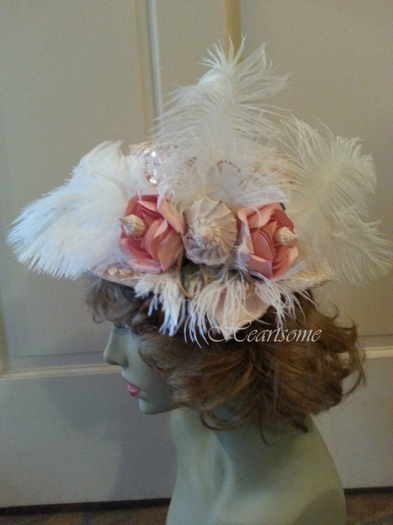 Edwardian Style Hats, Titanic Hats, Derby Hats Hat Victorian Edwardian Style  Titanic Downton feathers roses sea shells $40.00 AT vintagedancer.com