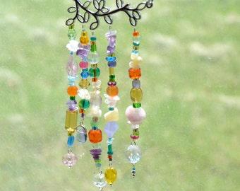 Vine Gemstone Suncatcher - Amethyst, Citrine, Apatite, Jade, Rose Quartz, Carnelian -Multicolor, Handmade, OOAK, Metaphysical Healing
