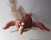 Nesting Bird Ceramic Sculpture with Twig: Housewarming