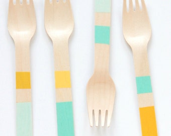 Colorblock Wooden Utensils- Forks Spoons Knives