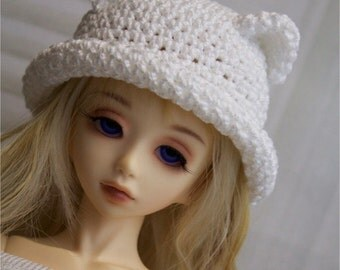 Kitty Ear Bowler Hat for Minifee, MSD BJD, 1/4 Doll, Made to Order