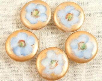 Group of 5 Antique Gilt Porcelain Hand Painted Blue Flowers Button Studs