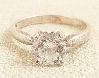 Size 8 Vintage Sterling and Cubic Zirconia Solitaire Ring