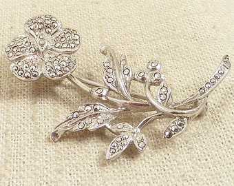 SALE ---- Vintage Deco Marcasite Studded Sterling Hollyhock Flower Brooch