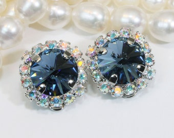Navy Blue Clip on earrings Navy Blue Swarovski Crystal AB Clip On Earrings AB Halo Swarovski Navy rhinestones Clips ,Silver,Denim Blue,SE97