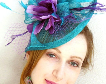 Teal Wedding Fascinator  Turquoise Fascinator Wedding Hat Lavender Flower Veil Derby Hat
