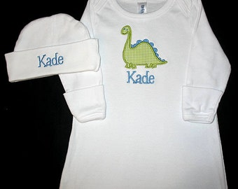 Custom Personalized Applique Gingham DINOSAUR and NAME Gown and Hat Set - Blue and Lime Green