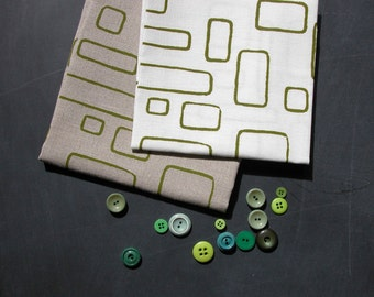 windows - screenprinted fabric panel, apple green on linen or cotton basecloth