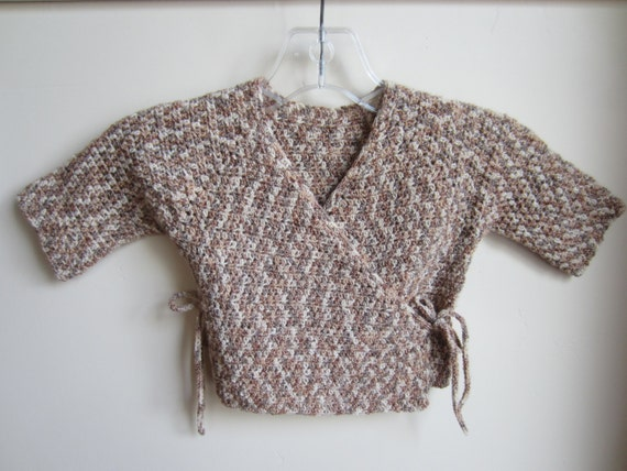 Kimono Baby Sweater Crocheted Size 3-9 Month Stretchy