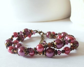 Boho Bridesmaid Bracelet Plum Pearl Bracelet Double Strand Bohemian Wedding Jewelry Sangria and Fuchsia Pearl Vintage Style Antiqued Bronze