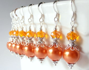 Orange Pearl Dangle Earrings, Orange Bridesmaid Jewelry, Tangerine Wedding Sets, Beaded Earrings, Orange Jewelry, Bridesmaid Gift Idea