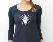 Womens Long Sleeve Tshirt - Bee Design - American Apparel - Ultra Wash - xs, small, medium, large, xl