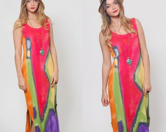 Vintage 90s COLORBLOCK  Maxi Dress BOLD Graphic Print Sleeveless Sun Dress Long Shift Dress Beach Cover Up