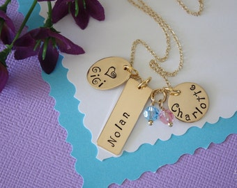Personalized Grandma Necklace Gold, Gold Personalized Necklace, Mom Necklace, Name Charm Gold, Bar Necklace, Name Tag, Rose Gold