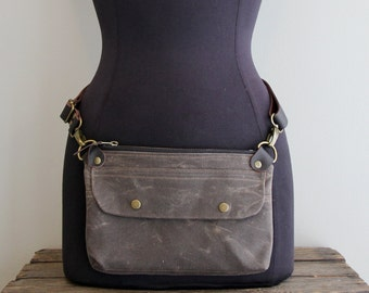 Hip Pack Hip Pouch  Fanny Pack Brown Waxed Canvas