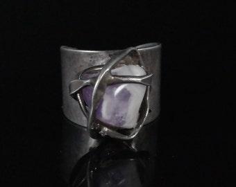 Ring, Size 7.75, Denmark, Sterling Silver, Vintage, Purple Amethyst, Moderne, Wrapped Stone, Adjustable, Modernist Ring