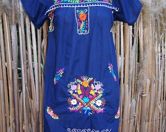 Mexican Dress embroidered flowers blue beauty size S