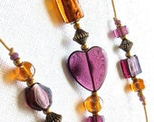 Beaded Windchime: Garden Chime with Purple & Apricot Foil-Lined Glass Beads. Amethyst Heart. Mauve. Peach. Gold. Sunset Colors. Brass Bell.