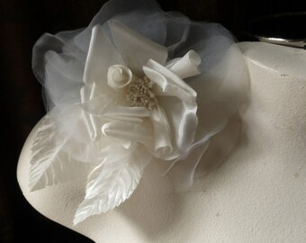 IVORY Rose Silk Flower Millinery Rose for Bridal, Sashes,  Corsages, Fascinators, Costume Design