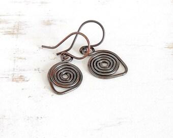 Hammered Copper Earrings, Simple Jewellery, Hand Forged Spiral Earrings, Handmade Copper Jewellery, Everyday Earrings, Brown Earrings