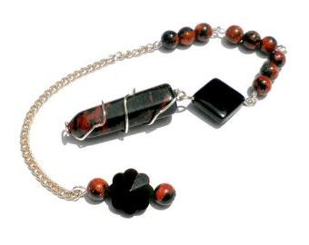 Mahogany Obsidian Pendulum Pendant Meditation, Root Chakra, Dowsing, Scrying, Celestial Skies, January Birthstone, Talisman, Gift Idea