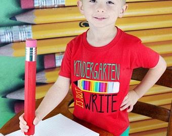 Boys Kindergarten is Just Write Shirt, School Applique Shirt, Homeschool, Pre-K, 1st Grade, 2nd Grade Shirt, Back-to-School Shirt