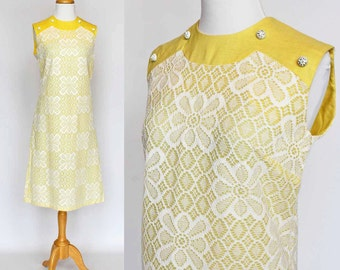 60's Shift Sheath Dress / Yellow Polyester and Linen Look / Small to Medium