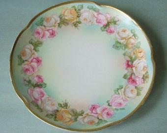 Antique Pink & Yellow Roses on Aqua GHB Bavaria Plate