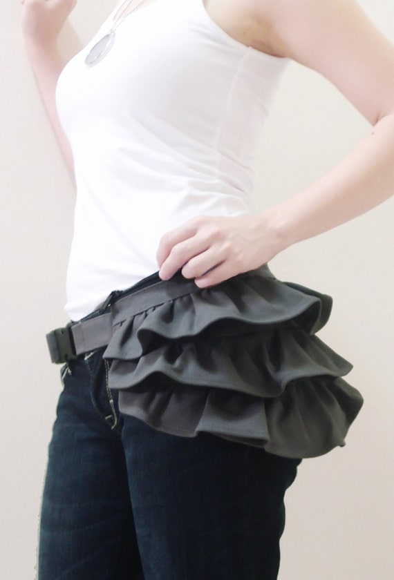 Back To School SALE - 20% OFF Gathered Waist Purse in Dark Gray / Fanny Pack / Hip Bag / Pouch / Waist Belt / Women / For Her