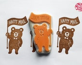 happy mail stamp. bear hand carved rubber stamp. snail mail packaging stamp. woodland stamp. card making. gift wrapping. scrapbooking
