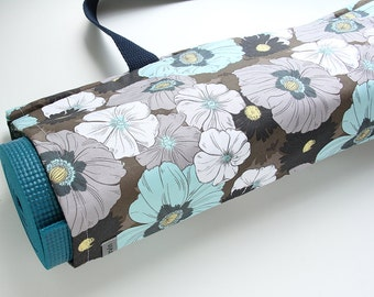 Yoga Mat Bag, Yoga Mat Carrier, Womens Yoga Bag, Yoga Mat Tote, Flowers, Gift for Yogini