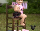 Hot Pink Polka dot Disney Minnie Mouse Ruffled Sunsuit Halter Outfit